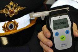 Измерение количества алкоголя при помощи алкотестера