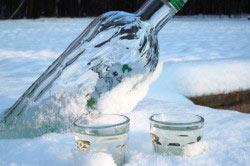 Алкоголь на морозе.